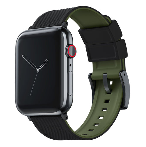 Apple Watch | Elite Silicone | Black Top / Army Green Bottom Apple Watch Bands Barton Watch Bands Large (42mm & 44mm) Black