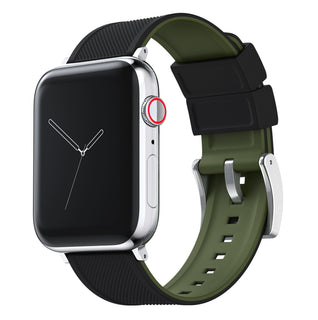 Load image into Gallery viewer, Apple Watch | Elite Silicone | Black Top / Army Green Bottom Apple Watch Bands Barton Watch Bands Large (42mm & 44mm) Stainless Steel