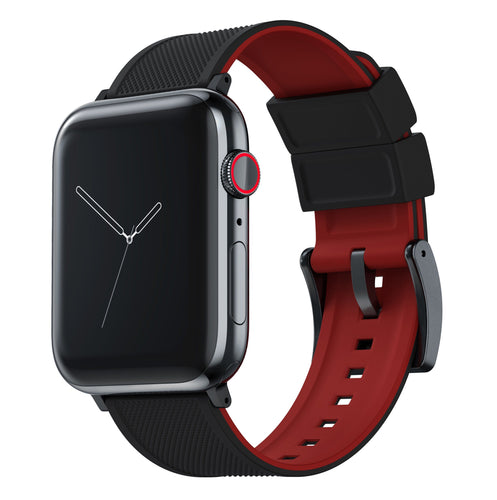 Apple Watch | Elite Silicone | Black Top / Crimson Red Bottom Apple Watch Bands Barton Watch Bands Large (42mm & 44mm) Black Standard