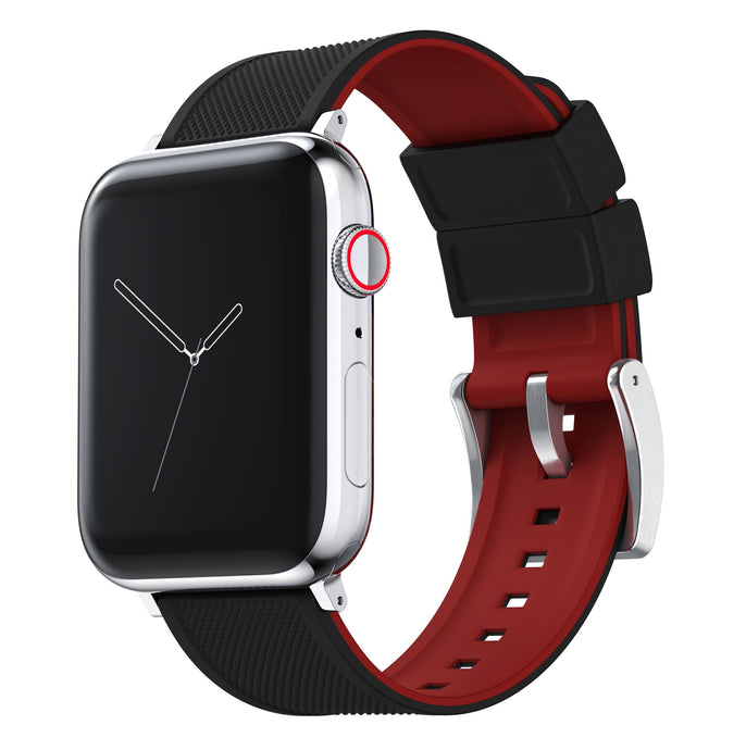 Apple Watch | Elite Silicone | Black Top / Crimson Red Bottom Apple Watch Bands Barton Watch Bands Small (38mm & 40mm) Stainless Steel Standard
