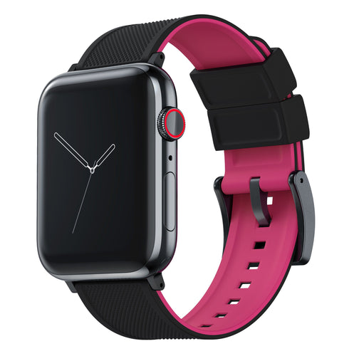 Apple Watch | Elite Silicone | Black Top / Pink Bottom Apple Watch Bands Barton Watch Bands Small (38mm & 40mm) Black