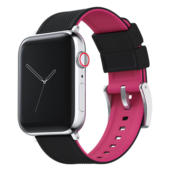 Apple Watch | Elite Silicone | Black Top / Pink Bottom Apple Watch Bands Barton Watch Bands Small (38mm & 40mm) Stainless Steel