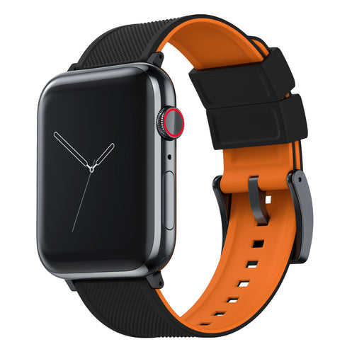 Apple Watch | Elite Silicone | Black Top / Pumpkin Orange Bottom Apple Watch Bands Barton Watch Bands Small (38mm & 40mm) Black Standard
