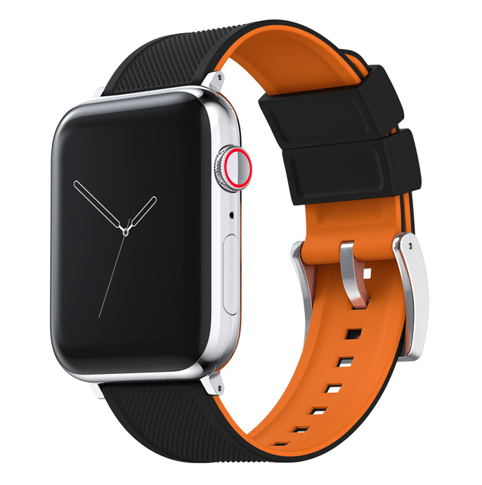 Apple Watch | Elite Silicone | Black Top / Pumpkin Orange Bottom Apple Watch Bands Barton Watch Bands Small (38mm & 40mm) Stainless Steel Standard