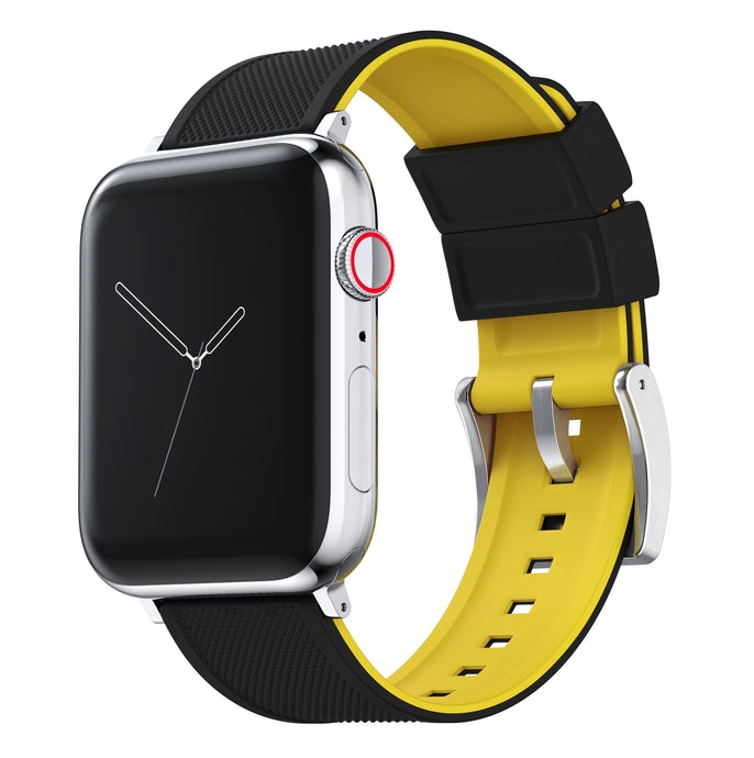 Apple Watch | Elite Silicone | Black Top / Yellow Bottom Apple Watch Bands Barton Watch Bands Large (42mm & 44mm) Stainless Steel