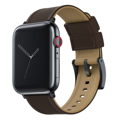 Apple Watch | Elite Silicone | Brown Top / Khaki Bottom Apple Watch Bands Barton Watch Bands Small (38mm & 40mm) Black
