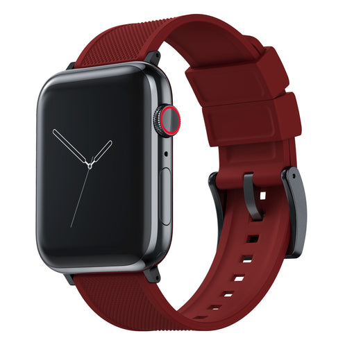 Apple Watch | Elite Silicone | Crimson Red Apple Watch Bands Barton Watch Bands Large (42mm & 44mm) Black