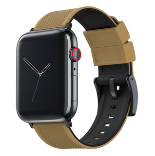 Load image into Gallery viewer, Apple Watch | Elite Silicone | Khaki Tan Top / Black Bottom Apple Watch Bands Barton Watch Bands Large (42mm & 44mm) Black