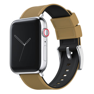 Load image into Gallery viewer, Apple Watch | Elite Silicone | Khaki Tan Top / Black Bottom Apple Watch Bands Barton Watch Bands Small (38mm & 40mm) Stainless Steel