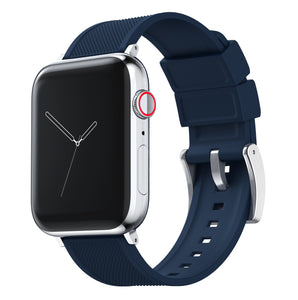 Apple Watch | Elite Silicone | Navy Blue Apple Watch Bands Barton Watch Bands Small (38mm & 40mm) Stainless Steel Standard
