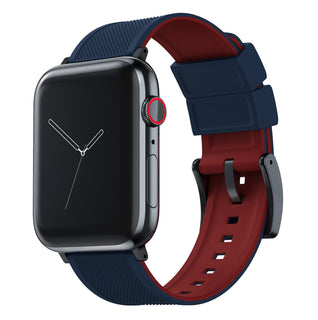 Load image into Gallery viewer, Apple Watch | Elite Silicone | Navy Blue Top / Crimson Red Bottom Apple Watch Bands Barton Watch Bands Large (42mm & 44mm) Black