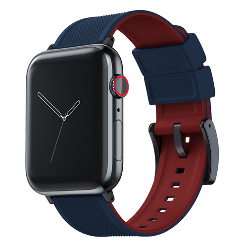 Apple Watch | Elite Silicone | Navy Blue Top / Crimson Red Bottom Apple Watch Bands Barton Watch Bands Large (42mm & 44mm) Black