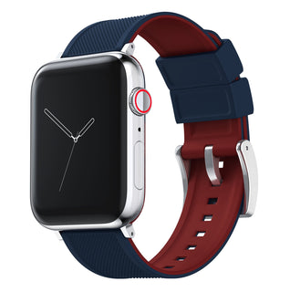 Load image into Gallery viewer, Apple Watch | Elite Silicone | Navy Blue Top / Crimson Red Bottom Apple Watch Bands Barton Watch Bands Large (42mm & 44mm) Stainless Steel