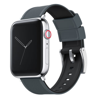 Load image into Gallery viewer, Apple Watch | Elite Silicone | Smoke Grey Top / Black Bottom Apple Watch Bands Barton Watch Bands Small (38mm & 40mm) Stainless Steel Standard