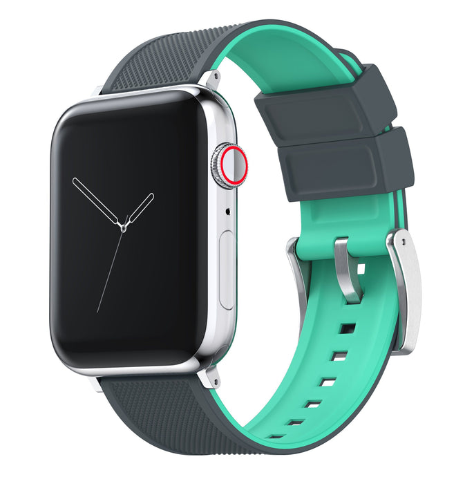 Apple Watch | Elite Silicone | Smoke Grey Top / Mint Green Bottom Apple Watch Bands Barton Watch Bands Large (42mm & 44mm) Stainless Steel
