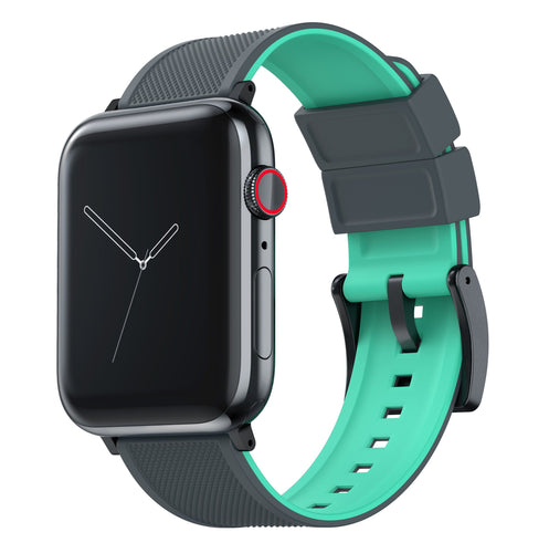 Apple Watch | Elite Silicone | Smoke Grey Top / Mint Green Bottom Apple Watch Bands Barton Watch Bands Small (38mm & 40mm) Black
