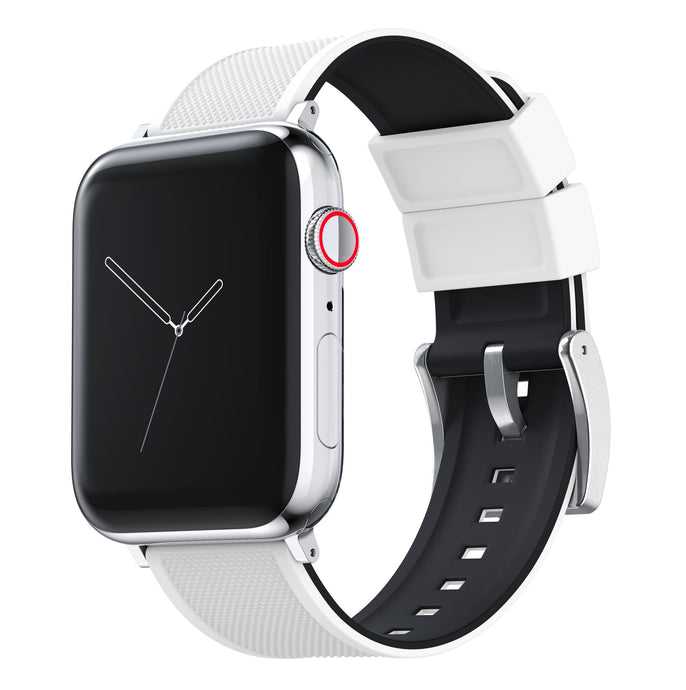 Apple Watch | Elite Silicone | White Top / Black Bottom Apple Watch Bands Barton Watch Bands Small (38mm & 40mm) Stainless Steel