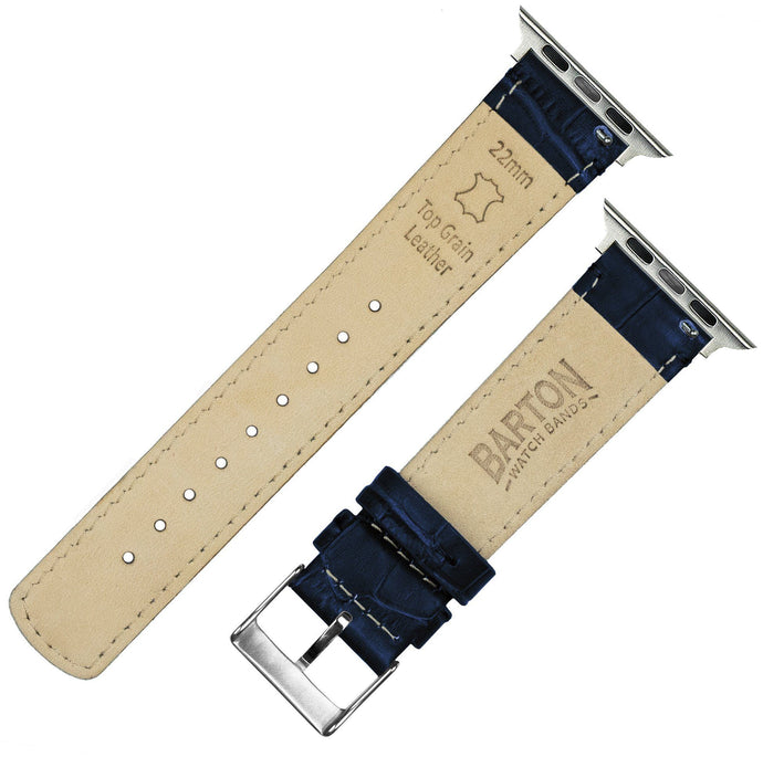 Apple Watch | Navy Blue Alligator Grain Leather Apple Watch Bands Barton Watch Bands