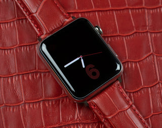 Load image into Gallery viewer, Apple Watch | Red Alligator Grain Leather Apple Watch Bands Barton Watch Bands