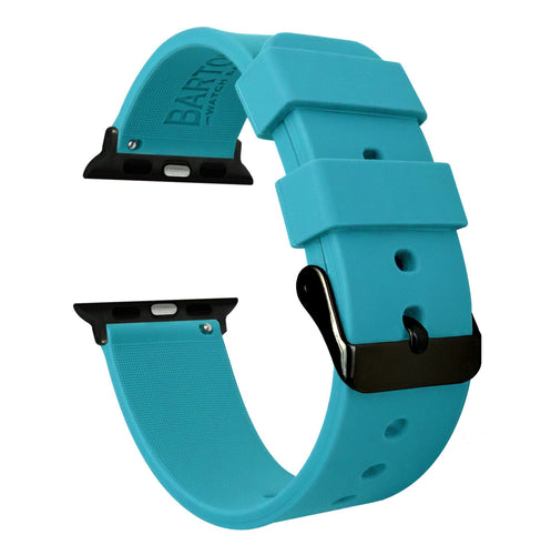Apple Watch | Silicone | Aqua Blue Apple Watch Bands Barton Watch Bands Large (42mm & 44mm) Black