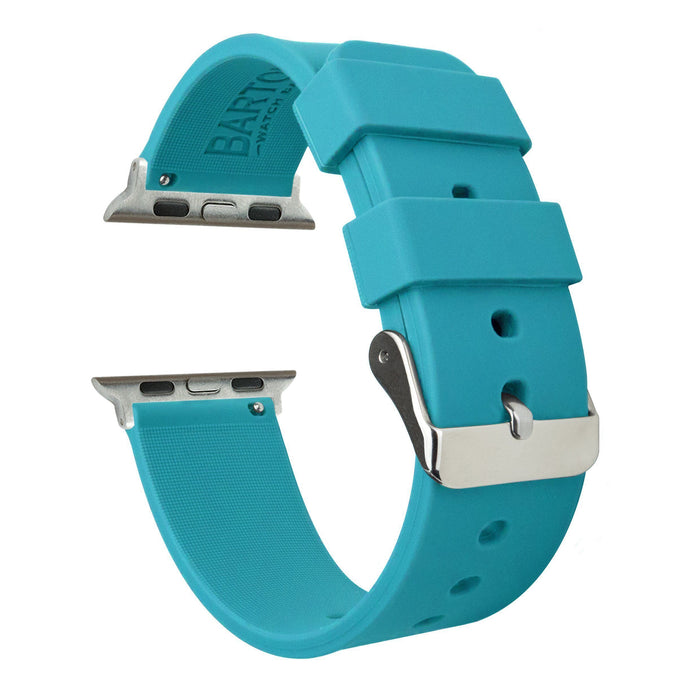 Apple Watch | Silicone | Aqua Blue Apple Watch Bands Barton Watch Bands Small (38mm & 40mm) Stainless Steel
