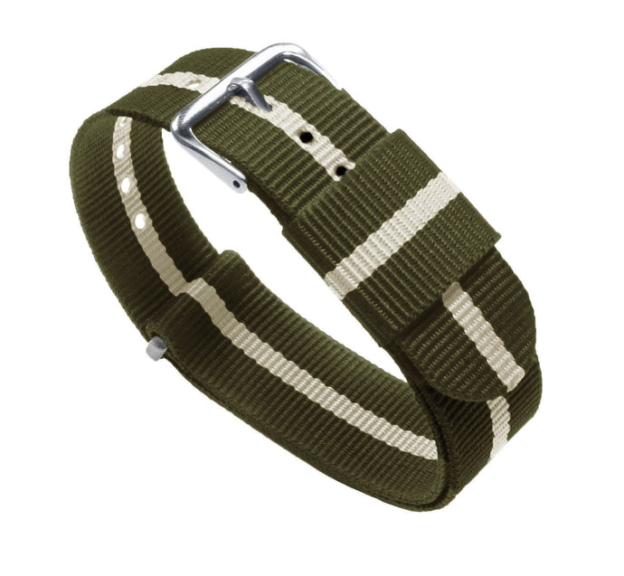 Army Green & Linen | Nylon NATO Style NATO Style Nylon Strap Barton Watch Bands 22mm Long - 11""
