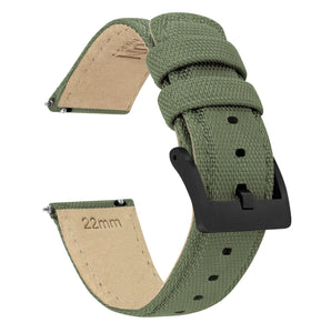 Army Green | Sailcloth Quick Release Sailcloth Quick Release Barton Watch Bands 18mm Black PVD