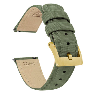 Load image into Gallery viewer, Army Green | Sailcloth Quick Release Sailcloth Quick Release Barton Watch Bands 18mm Gold