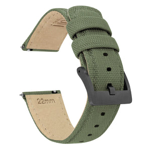 Army Green | Sailcloth Quick Release Sailcloth Quick Release Barton Watch Bands 18mm Gunmetal Grey