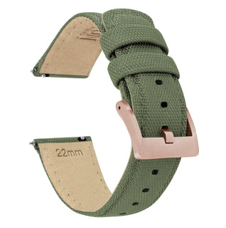 Load image into Gallery viewer, Army Green | Sailcloth Quick Release Sailcloth Quick Release Barton Watch Bands 18mm Rose Gold