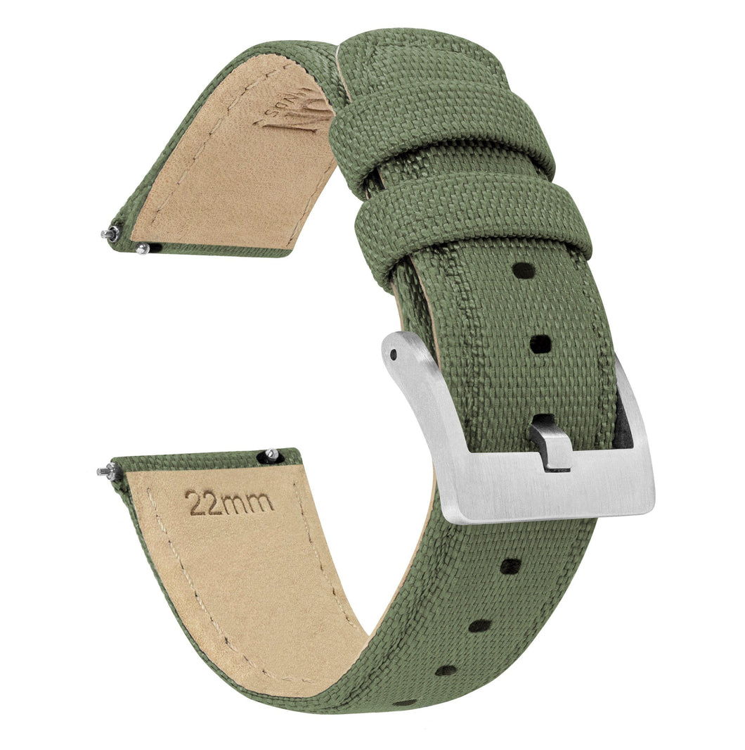 Army Green | Sailcloth Quick Release Sailcloth Quick Release Barton Watch Bands 18mm Stainless Steel