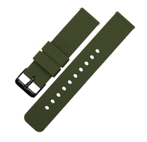 Army Green | Soft Silicone Quick Release Silicone Watch Band Barton Watch Bands 16mm Black