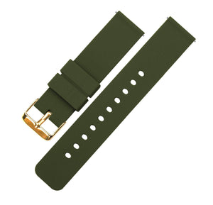 Army Green | Soft Silicone Quick Release Silicone Watch Band Barton Watch Bands 16mm Gold