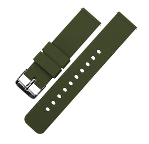 Army Green | Soft Silicone Quick Release Silicone Watch Band Barton Watch Bands 16mm Gunmetal Grey