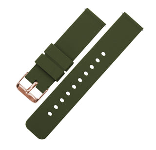 Load image into Gallery viewer, Army Green | Soft Silicone Quick Release Silicone Watch Band Barton Watch Bands 16mm Rose Gold