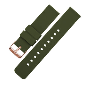 Army Green | Soft Silicone Quick Release Silicone Watch Band Barton Watch Bands 16mm Rose Gold