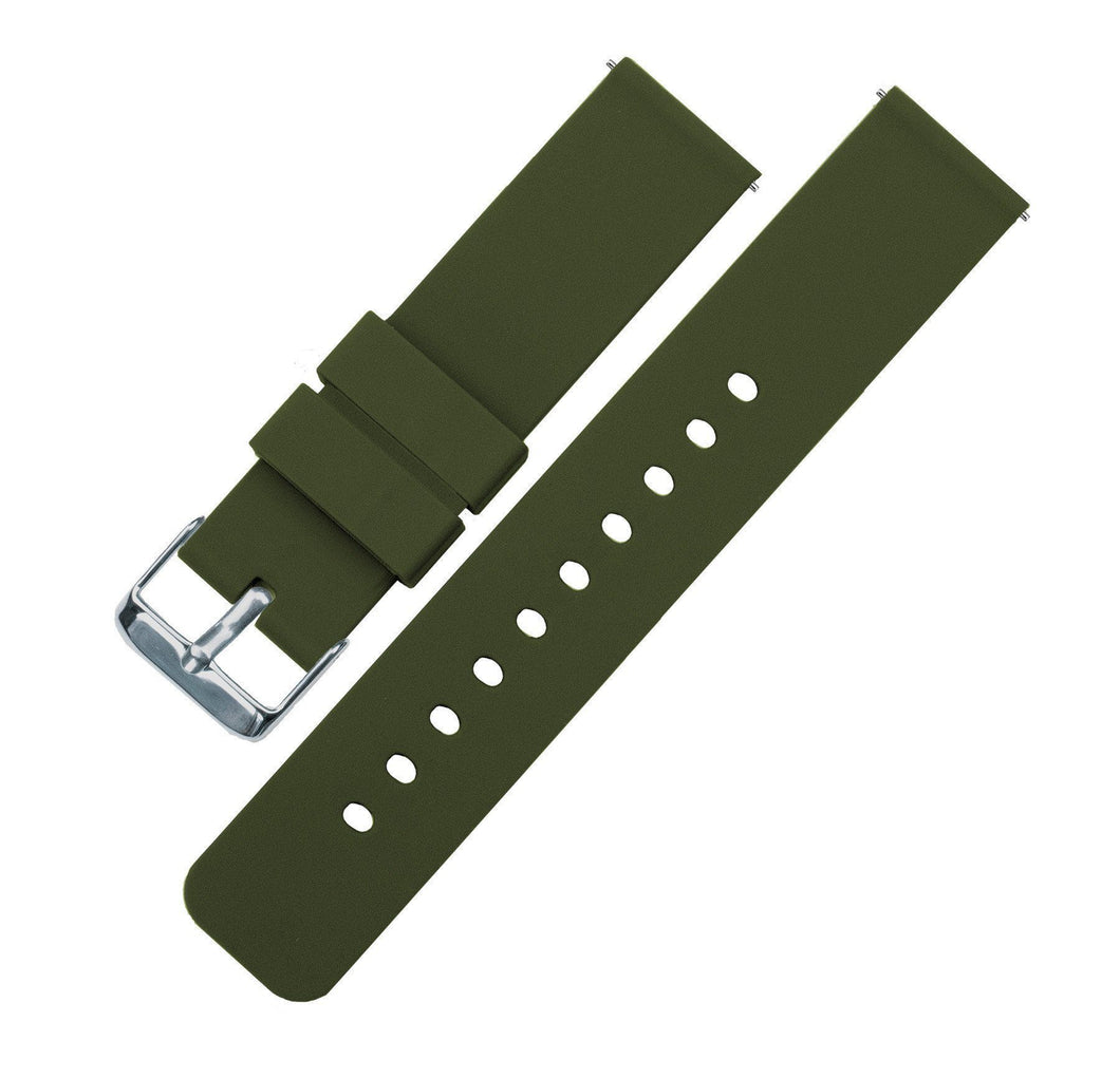 Army Green | Soft Silicone Quick Release Silicone Watch Band Barton Watch Bands 18mm Stainless Steel