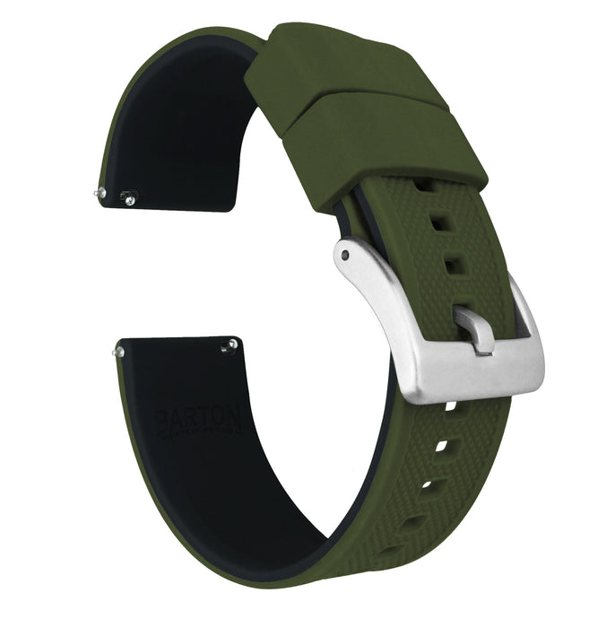 Army Green Top / Black Bottom | Elite Silicone Elite Silicone Barton Watch Bands 22mm Stainless Steel