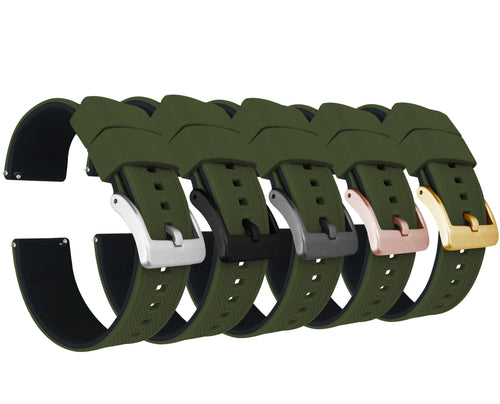 Army Green Top / Black Bottom | Elite Silicone - Barton Watch Bands