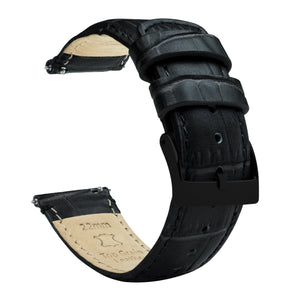Black | Alligator Grain Leather Quick Release Leather Watch Bands Barton Watch Bands 22mm Black PVD Standard