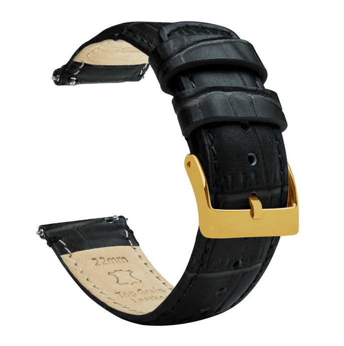 Black | Alligator Grain Leather Quick Release Leather Watch Bands Barton Watch Bands 22mm Gold Standard