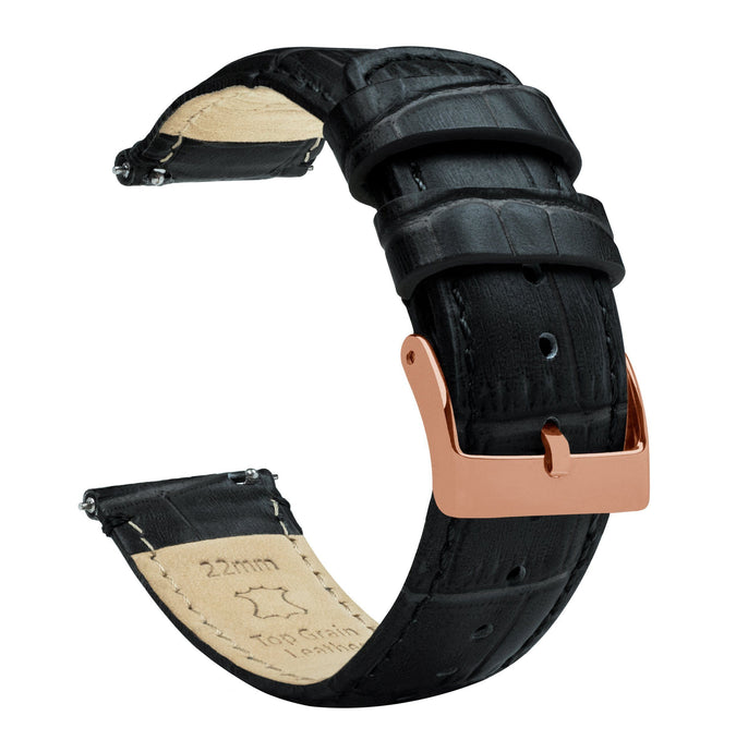 Black | Alligator Grain Leather Quick Release Leather Watch Bands Barton Watch Bands 22mm Rose Gold Standard