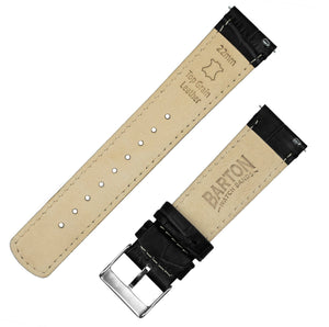 Black | Alligator Grain Leather Quick Release Leather Watch Bands Barton Watch Bands