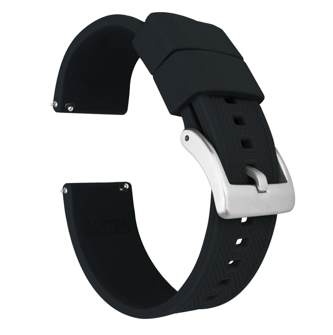 Black | Elite Silicone Elite Silicone Barton Watch Bands 22mm Stainless Steel Standard