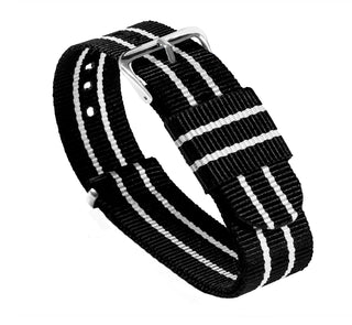 Load image into Gallery viewer, Black & Ivory | Nylon NATO Style NATO Style Nylon Strap Barton Watch Bands