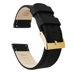 Black Leather | Black Stitching Quick Release Leather Watch Bands Barton Watch Bands 18mm Gold Standard