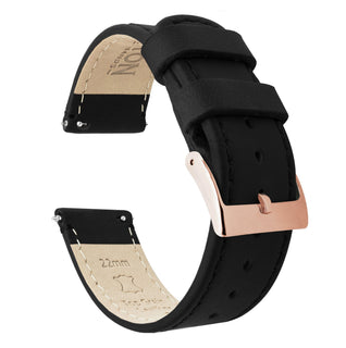 Load image into Gallery viewer, Black Leather | Black Stitching Quick Release Leather Watch Bands Barton Watch Bands 22mm Rose Gold Standard
