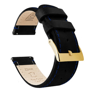 Black Leather | Blue Stitching Quick Release Leather Watch Bands Barton Watch Bands 22mm Gold