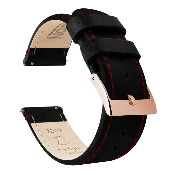 Black Leather | Crimson Red Stitching Quick Release Leather Watch Bands Barton Watch Bands 22mm Rose Gold