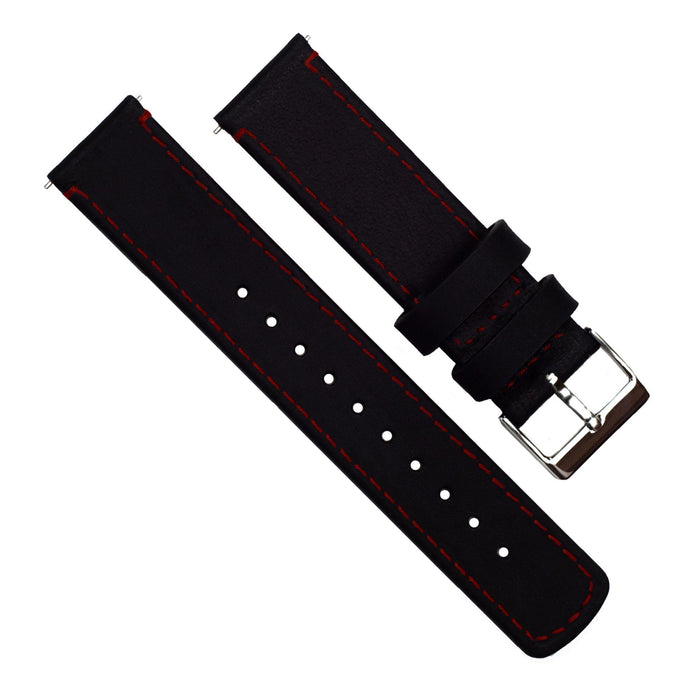 Black Leather | Crimson Red Stitching Quick Release Leather Watch Bands Barton Watch Bands